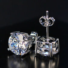 Clear Crystal Round Stud Earrings With Swarovski Crystals 14K White Gold Filled