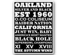 Oakland Raiders Art Poster NFL Football Subway Print 12x16""