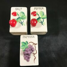 Vintage Porcelain Salt & Pepper Paprika Shakers Strawberries and Grapes