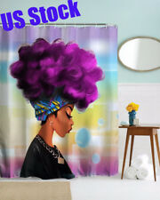 Waterproof Women Black Shower Curtain African Girl w/ Purple Hair Afro Hairstyle
