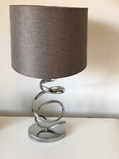 Next Home Ribbon Silver Chrome Bedside Table Lamp