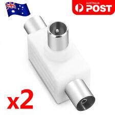 2x PAL TV Antenna Splitter Double Adaptor 1 Male Plug to 2 Female Sockets