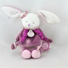 Doudou et compagnie hochet lapin blanc rose prune cerise - Lapin Hochet
