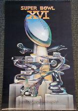 Vintage Original SUPER BOWL XVI (1982 Detroit) Official Event POSTER (49ers)