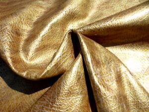 calfskin leather hide Soft Metallic Gold glitter mottled veined gloss finish