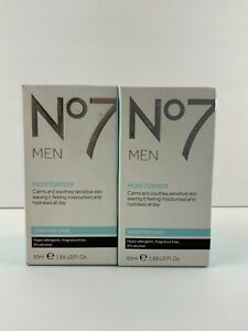 2 PACK Boots No7 MEN Moisturiser - Calms Soothes Sensitive Skin-50ml 1.69 oz NEW