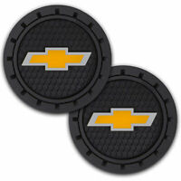 Plasticolor Chevrolet Car Coaster, 2 Cupholder Coasters Gold Chevy Bowtie Emblem