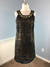 SIGNATURE Robbie Bee M 10 P Black Burnout Shift Dress Cocktail Party Embellished