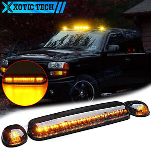LED Smoked Amber Cab Roof Light For Chevrolet Silverado 1500 2500 HD 2002-2007