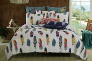 3 Pc Reversible Cotton Poly Oversized Quilt Set Feather Motif Ivory Teal Red Yel