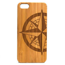 Compass Rose Case made for iPhone 8 phone Eco-Friendly Durable Bamboo