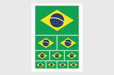 Brazil Flag Weatherproof Sticker Sheet / 10 Brazilian Flag Sticker Various Sizes