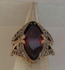 WOW Handmade Turkish 925 Silver/Bronze Ruby/White Topaz Ring Size 7/O