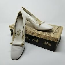 Women's vintage shoes 70s white heels Airstep 5.5 gold detail orig box receipt