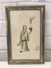 Antique Chinese Pith Rice Paper Painting of a Man Holding Incense Burner Censer
