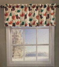 Christmas Valance Window Decor Stocking Tree PEPPERMINT CANDY Holly Snowflakes
