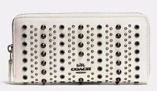 NWT Coach All Over Studs And Grommets Accordion Zip Leather Wallet F53772 Chalk