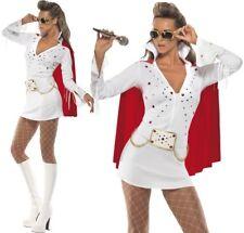 Smiffys Women's Elvis Viva Las Vegas Costume Dress & Cape Size M Colour Whi