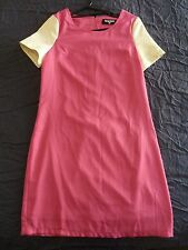 Dangerfield 10 S Pink Dress with Gold Sleeves Retro Vintage Cut