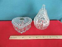 Lot of 2 Glass Trinket Boxes Heart Shape & Pear Shape 24% Lead Crystal
