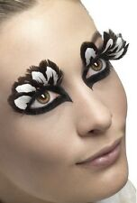 Ladies Long Brown White Feather False Eyelashes Burlesque Hen Do Fancy Dress