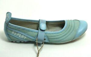 549 Slip On Leder Flats Retro Sandale Ballerina Riemen Blau Sommerschuhe 39