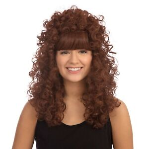 LADIES 1980'S PARTY LONG GINGER CURLY PERM BUDGET WIG  FANCY DRESS ACCESSORY