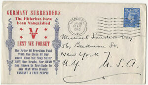GB KGVI 10 May 1945 GERMANY SURRENDERS cover London to N.Y., USA 2½d