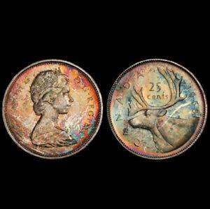 MS64 1965 25C Canada Silver Caribou Quarter, PCGS Secure- Pretty Rainbow Toned