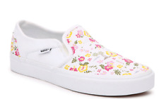 VANS Asher Slip On Sneakers Women Casual Skate Shoes White/Multicolor Floral NEW