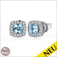 NEU 🌸 OHRRINGE Blautopas 925 Sterling Silber Blue TOPAZ Ohrstecker 🌸 Luxus