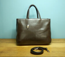 FURLA dark brown leather grab bag/handbag with a detachable strap. Made in Italy