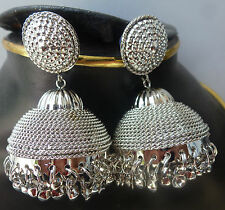 Antique Silver Plated 3 cm Diameter Wedding In Indian Jhumki Jhumka Earrings Set