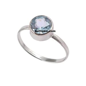 Natural Blue Topaz Round  Ring 925 Sterling Silver Ring solitaire Jewelry r-68