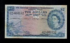 BRITISH CARIBBEAN TERRITORIES  2  DOLLARS 1962  PICK # 8c FINE+.