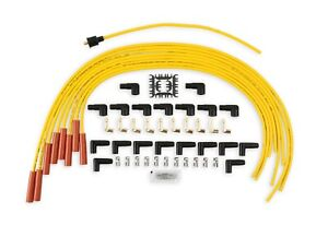ACCEL 4040 UNIVERSAL STRAIGHT BOOT SPARK PLUG WIRE SET- 8MM - YELLOW