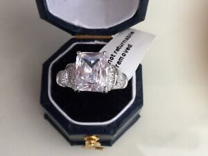 Rhodium On 925 Hallmarked Solid Silver Cubic Zirconia Ring. Size Q. And U.
