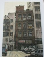 LARGE ROBERT CARRERE CHUNKY PAINTING MODERNIST NY URBAN CITY STREETS AMERICANA