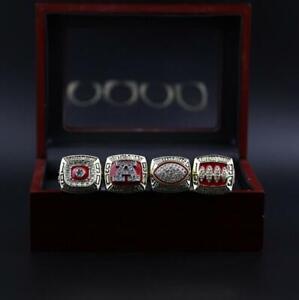 4pcs Buffalo Bills American Football Team Ring With Wooden Box Set Fan Men Gift