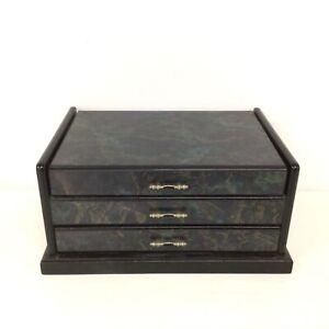 Wooden Jewellery Holder/Organiser Black/Dark Green w/ Mirror #310