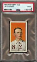 Rare 1909-11 T206 Fred Tenney Piedmont 150 New York PSA 2 GD