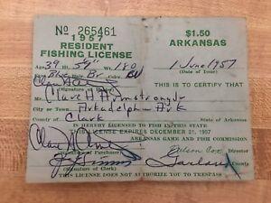 VINTAGE 1957 ARKANSAS RESIDENT FISHING PAPER LICENSE