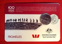 2016 Anzac To Afghanistan 20 Cent Australian Coin Carded Unc. Fromelles
