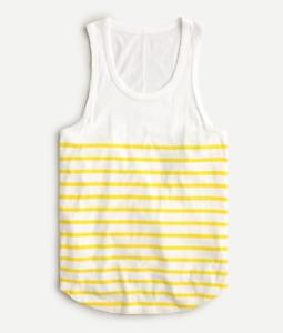 J Crew Tank Top Womens Small New White Yellow Stripe Longline Layering Shirt