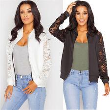 Women's Crochet Lace Bomber Jacket Long Sleeve Zipper Fashion Cardigan Coat Tops