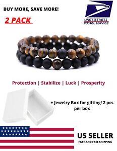 Tiger Eye Black Agate Stone Bracelet Natural Anxiety Yoga Prayer Men Reiki Set