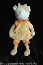 Doudou Vache écru marron orange Baby Collection Nicotoy arrosoir fleurs 30 cm
