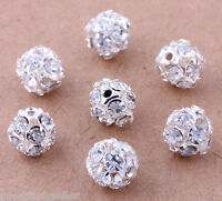 30 pcs Silver Plated Rhinestone Pave Spacer Beads Charms Jewelry Findings 8mm