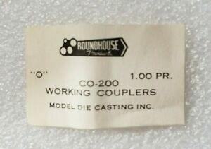Roundhouse Working O-scale Couplers, 1 pr, brass, CO-200, NIB