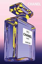 Chanel 5 Framed canvas print Vintage Art Deco Purple Bottle